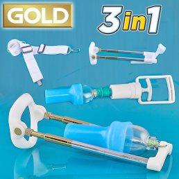 Вакуумный экстендер Penismaster Pro Gold premium 3 в 1 с оригинальными резинками